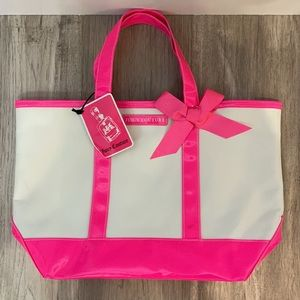 JUICY COUTURE TOTE BAG Hot Pink Trim Bottom & Ribbon Bow